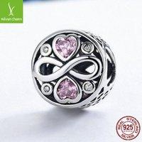 BAMOER AUTENTICO AUTOSTICO 100% 925 Sterling Silver Infinity Love Pink Heart Crystal Beads Fit Braccialetti Bracciali Fine Gioielli S925 SCC240 2003 Q2