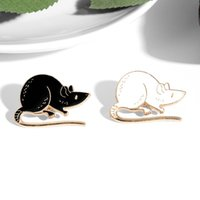 Pins, Brooches Black White Rats Enamel Pin Cartoon Animal Mouse Custom Brooch Badge For Friends Jewelry Wholesale Clothes Lapel