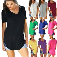Casual Top Women T Shirt Sexy V Neck Loose Split Fork Splicing Simplicity Short Sleeve Solid Color Comfortable Breathable 9 Colors WMD