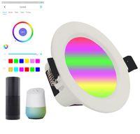 Inteligente Downlight 6 polegadas, Wi-Fi LED Recessed Drywall Lighting, 15w teto para baixo de iluminação controle de voz via Alexa google assistant siri, rgbcw