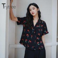 Trytree 2021 verão mulheres blusa casual separação coleira impressão moda temperamento solto vintage estilo estilo tops mulheres blusas sh