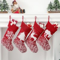 Christmas Decorations 2022 Large Fleece Knitted Xmas Stockings Fireplace Tree Drop Ornaments Candy Gift Storage Bags