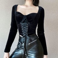 Insgoth Vintage Dantel Siyah T Gömlek Goth Estetik Uzun Kollu Kadife T-Shirt Kadın Harajuku Seksi Ince Bandaj Uzun Kollu Tops