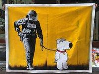 Artinlife feitos à mão pinturas a óleo de linho lona de linho para casa e escritório decoração galeria coleção popart n.113 polícia cão banksy
