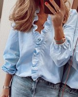 여성 러 루 셔츠 편지 파인애플 프린트 V 넥 셔츠 긴 소매 봄 가을 꽃 섹시 슬림 블라우스 탑 여성 streetwear 여성의 블로