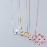 Real 925 Стерлинговое Серебро Вечность Любовь Символ Кулон Ожерелье Розовое Позолоченное Бесконечное Бесконечное Бесконечное Бесконечные Женщины Ожерелья