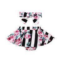 Shorts 2021 Est Toddler Infant Baby Girl Boys Culottes Floral Stripe Tutu Headband Outfits 2Pcs Set 0-3Y