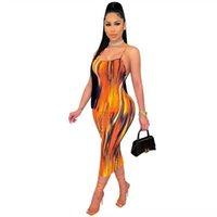 Vestidos casuales para mujer Sin mangas Rainbow Maxi Vestido Vestido Bodycon Tie-Dye Gradient Vestido Mini Mujeres Ruched #gpgk