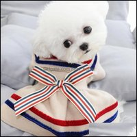 Dog Pet Supplies Home & Gardendog Apparel Winter Clothes Bow Stripe Student Pets Outfits Warm For Small Dogs Cat Costumes Coat Jacket Puppy