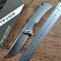 TWOSUN Utility Hunting Folding Knives M390 Steel Satin Finished Titanium Handle for Gift Outdoor Collections Survival EDC Tool TS190