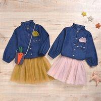 3 قطع ربيع جديد طفل صغير الفتيات الملابس أزياء الاطفال المطرزة الدنيم قميص + اللباس + حقيبة مجموعة دعوى عارضة ملابس الأطفال 684 X2