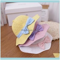 Aessories Baby, Maternitybaby Hat Spring And Autumn Thin Cotton Bucket Hit Color Bow Summer Sunshade Big Girls Kids Basin Caps & Hats Drop D