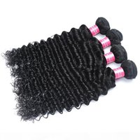 Deep Wave Brazilian Human Hair Bundles Straight Double Drawn Hair with Frontal 4x4 Closure Natural Color