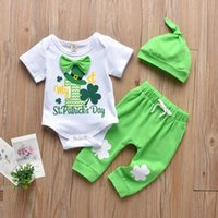 Born Infant Baby Sets Cute Girls For St.patrick's Day Green Letter Printed Cotton With Bow Romper+pants+hat Outfits 0-24m Clothing