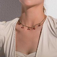 Gold Finish Dangling Cherry Necklace Red and Green Charms Rhintone Jewelry Chain on Neck