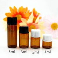 100pcs Lot 1ml 2ml 3ml 5ml Essential Oil Bottles Small Amber Transparent Glass Sample Vials with Orifice