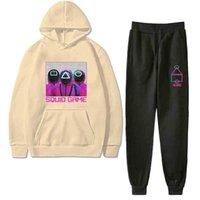 O jogo de tv de squid outono e inverno fita para crianças esportes casuais hoodie de pelúcia + leggings calças de dois peças terno meninos meninas moletom terno g05xaoc