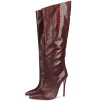 Boots High Quality Embossed Leather Pointed Toe Knee Long 2021 Autumn Winter Sexy Thin Heel Women's Shoes Big Size