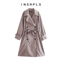 Women's Trench Coats INSRPLS Women Fashion With Belt Double Breasted Loose Coat Vintage Long Sleeve Pockets Female Outerwear Chic Overcoat