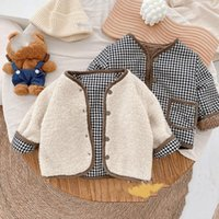 Down Coat Winter Unisex Children Fashion Thicken Double Sided Coats Boys And Girls Fleece Thick Warm Plaid Jackets