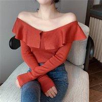 Frauen Blusen Hemden Zhuishu Word Schulter Damen Mode Sexy Temperament Slim langärmlig gestrickte Oberseite