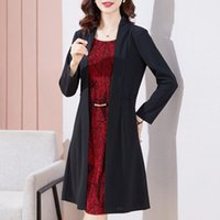Casual Dresses 2021 Autumn Women Dress M-4XL Plus Size Fake Two-piece Mesh Middle-Aged Mothers Clothing