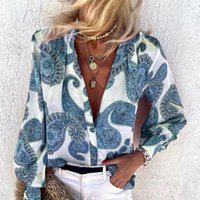 Women's Blouses & Shirts Autumn Floral Print Vintage Long Sleeve Single Breasted O-neck Female Shirt Streetwear Casual Ladies Clothes