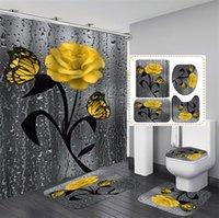 Cortina de baño con estera de baño floral y cortina de ducha Cortina de ducha con ganchos Alfombras de baño Anti patinaje Baño Alfombra Aseo Pad Pad Bath Mat 1229 V2