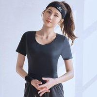 Yoga Outfit Ranmo с коротким рукавом женщин топы открыты задняя бегущая одежда пилатес свободная тренировка спортивная одежда быстрые сухие танцевальные рубашки