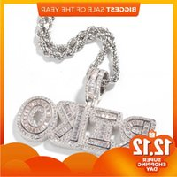 Hip Hop Custom Name Baguette Letter Pendant Necklace With Rope Chain Gold Silver Bling Zirconia Men Necklaces Jewelry