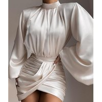 Casual Dresses Ruched Satin Dress Women White Latern Sleeves Sexy Party Europe And America Autumn Night Club Mini 2021 Vestdios