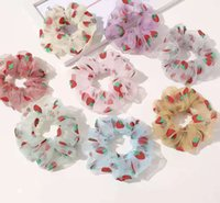 2021 Fashion Korea Sweet Embroidery Flowers Transparent Mesh Scrunchies Women Headband Hair Accessories