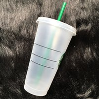 스타 벅스 인어 여신 24oz / 710ml 플라스틱 머그잔 텀블러 재사용 가능한 명확한 마시는 평면 바닥 기둥 모양 뚜껑 밀짚 컵 바슬 컵
