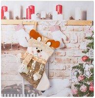 Christmas Gift Bag Sequin Xmas Stocking Decorations Snowman Snowflake Sock Pendant Santa Claus Present Ornaments
