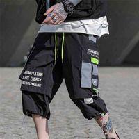 Sfabl Sommer Hip Hop Shorts Männer Schwarz Harem kurze Hosen Multi-Taschen-Bänder Mann Streetwear Harajuku Lose Mens Shorts 3XL 210401
