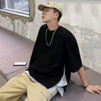 Verano Moda Juvenil T Shirt Tendencia casual Falso Fake Two Pieza Cuello redondo Manga corta salvaje Estudiante flojo para hombre Tamaño asiático