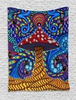 태피스트리 simsant trippy 버섯 태피스트리 다채로운 추상 미술 벽 거실에 대 한 매달려 홈 기숙사 장식 배너