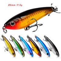 6 Color Mixed 85mm 11.5g Pencil Hard Baits & Lures Fishing Hooks 6# Treble Hook Pesca Tackle Accessories WA_657