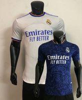 2021 2022 Gerçek Madrid Oyuncu Sürüm Futbol Formaları Kroos Benzema Alaba Tehlike Modric 20 21 22 Eve Uzaktan Futbol Sıkı Gömlek