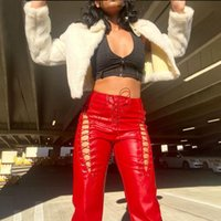 Women's Pants & Capris Wsevypo Lace-up Cross Hollow PU Leather Street Style High Waist Straight-Leg Trousers Streetwear Solid Slim