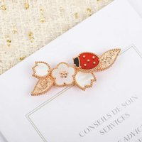 Top Quality Luxury Brand Pure 925 Silver Jewelry Lovely Ladybug Lucky Spring Design Cherry Leaf Mother Of Pearl Gemstone Brooch