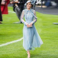 Vestidos informales Kate Middleton Moda Mujeres Primavera Otoño Alta Calidad Elegante elegante Chic Fiesta de encaje Patchwork Dot Print Mesh Midi Vestido