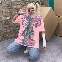 Women's T-Shirt Japan Harajuku T Shirt Women Oversized Tops Hip Hop Pink Tees Crayon Cute Bear Cartoon Tshirt Streetwear Girl