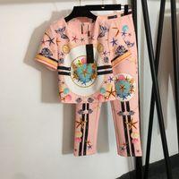 2021 Sonbahar kadın İki Parçalı Pantolon O Boyun Kısa Kollu Baskı Ceket Ve Şort Marka Aynı Stil 2 Parça Setleri 0703-19