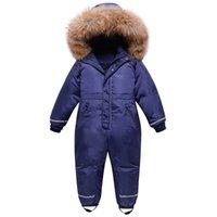 Olekid Boys Winter Snowsuit impermeable Piel Real Girls Girls Jumpsuit 3-10 años Niños Monos Niños Traje de esquí Ropa de nieve