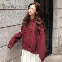 Women's Hoodies & Sweatshirts 6 Color Mihoshop Ulzzang Korea Korean Women Fashion Clothing Loose Pure Basic Chic Thick Long Sleeve