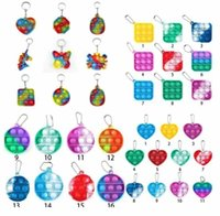 DHL 3-7 days delivery Fidget Toys its key Chain Favor designer Dinosaur Car Square Push Poo Bubble Cartoon Dimple Rainbow toy Keychain Stress Reliever CJ09