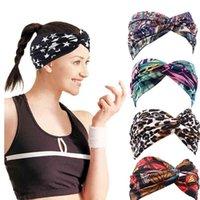 Hair Accessories Floral Leopard Print Turban Headband Cross Knot Elastic Yoga Hairband Fashion Cotton Wide Headbands For Women Accessoires