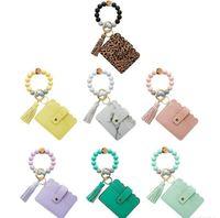 Amerikanska lager 7 stilar Matkvalitet Silikonpärlkedja Key Ring Ny PU Fransed Tassel Kortväska Silikon Armband Armband Keychain Party Supplies