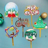 Suministros de fiesta Feliz Navidad Serial Feliz Cumpleaños Tortero Top Tarjeta de decoración Acrílico Toppers Decoración HHB9623
